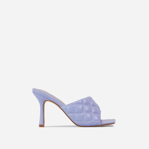 Tropez Square Toe Quilted Heel Mule In Lilac Faux Leather