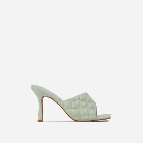 Tropez Square Toe Quilted Heel Mule In Mint Green Faux Leather