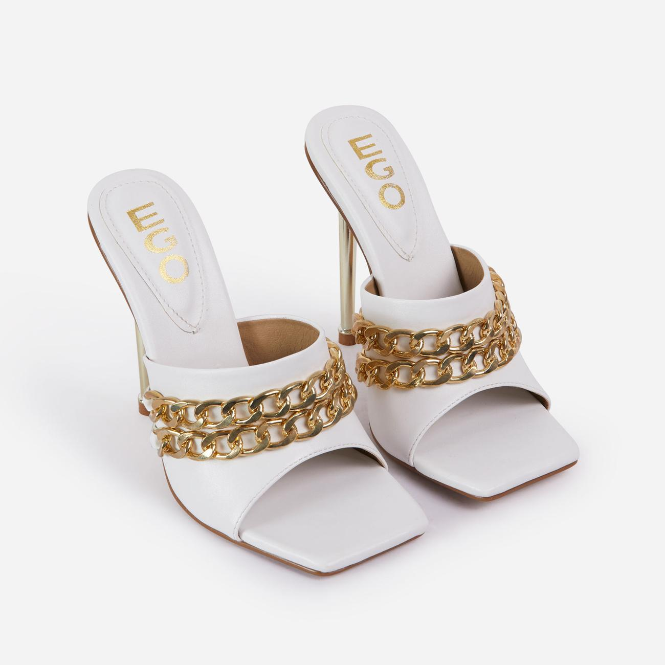 Fund Chain Detail Square Peep Toe Metallic Heel Mule In White Faux Leather Image 2
