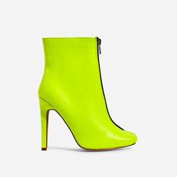 Jonah Zip Detail Ankle Boot In Lime Green Faux Leather
