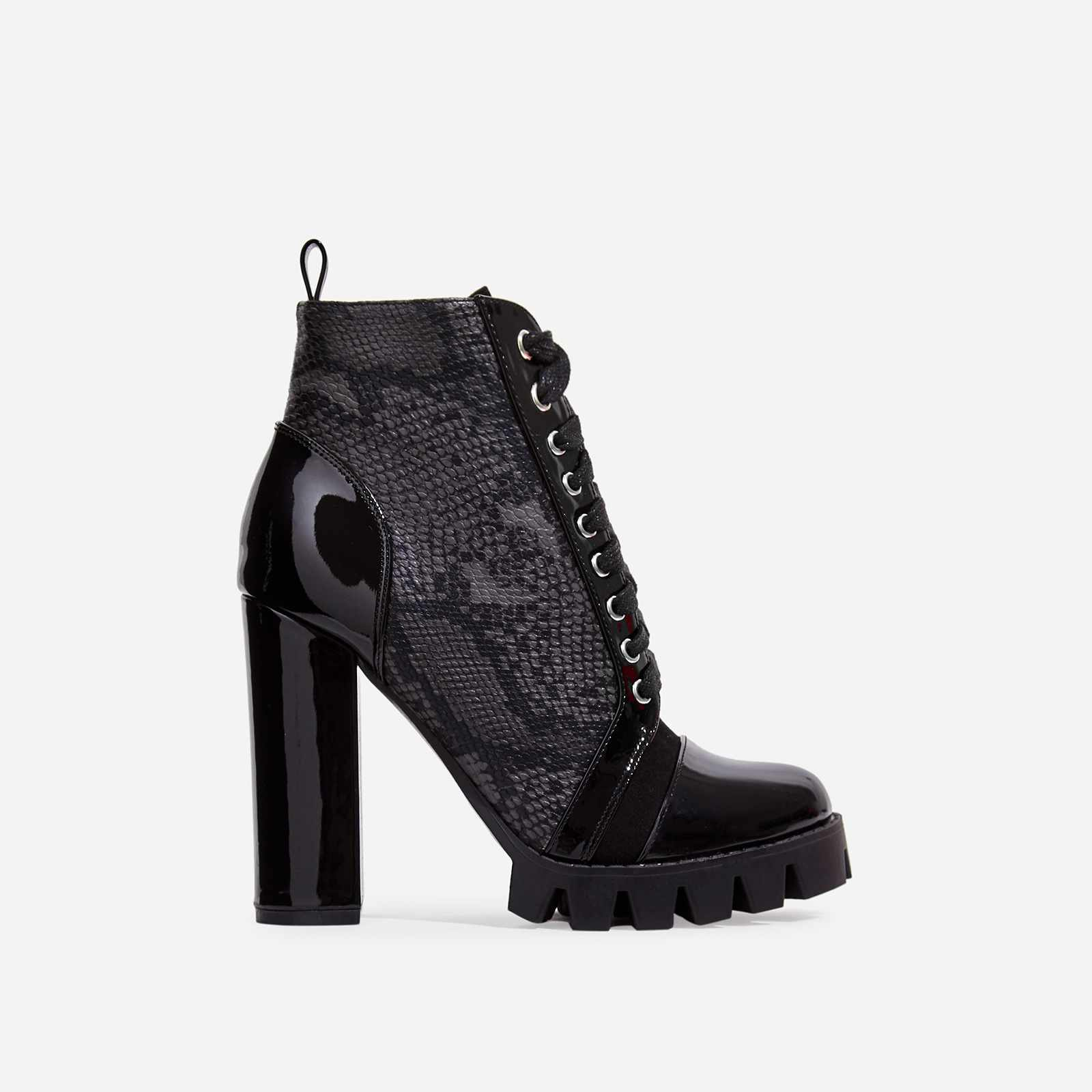 Urban Lace Up Cleated Sole Ankle Boot In Black Snake Print Faux Leather And Patent