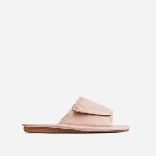 Malone Padded Flat Slider Sandal In Nude Croc Print Faux Leather