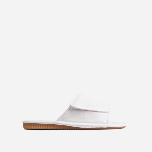 Malone Padded Flat Slider Sandal In White Croc Print Faux Leather
