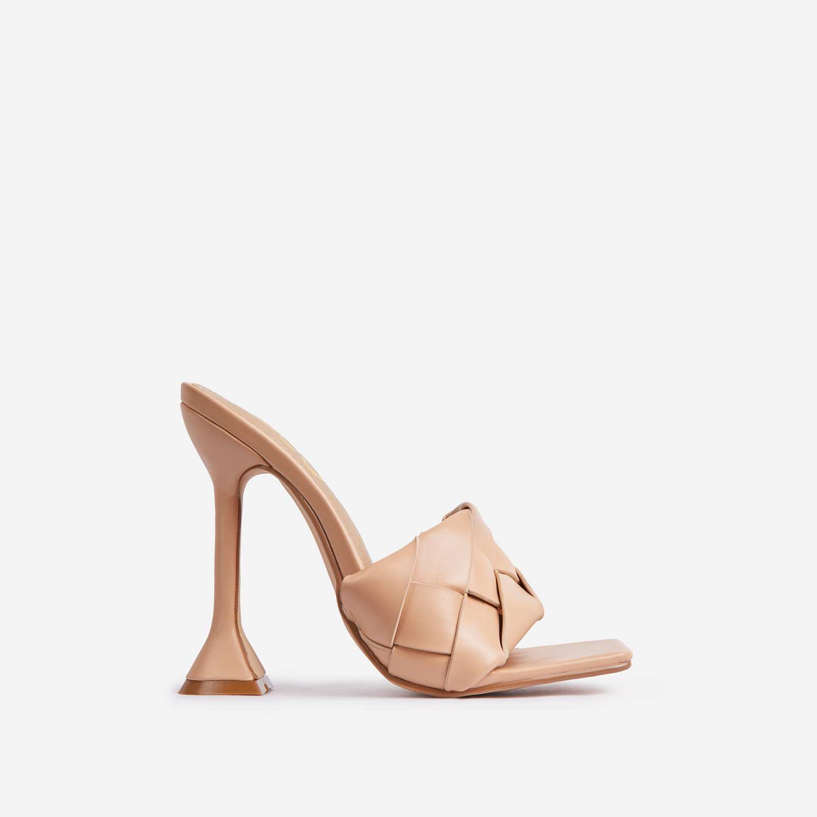 Handled Woven Square Peep Toe Sculptured Heel Mule In Nude Faux Leather