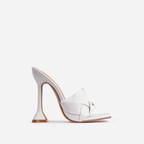 Handled Woven Square Peep Toe Sculptured Heel Mule In White Faux Leather