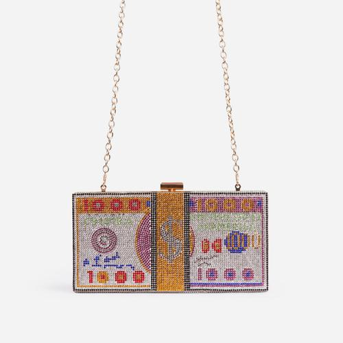 Boujee Premium Crystal Dollar Bill Cross Body Bag In Multi