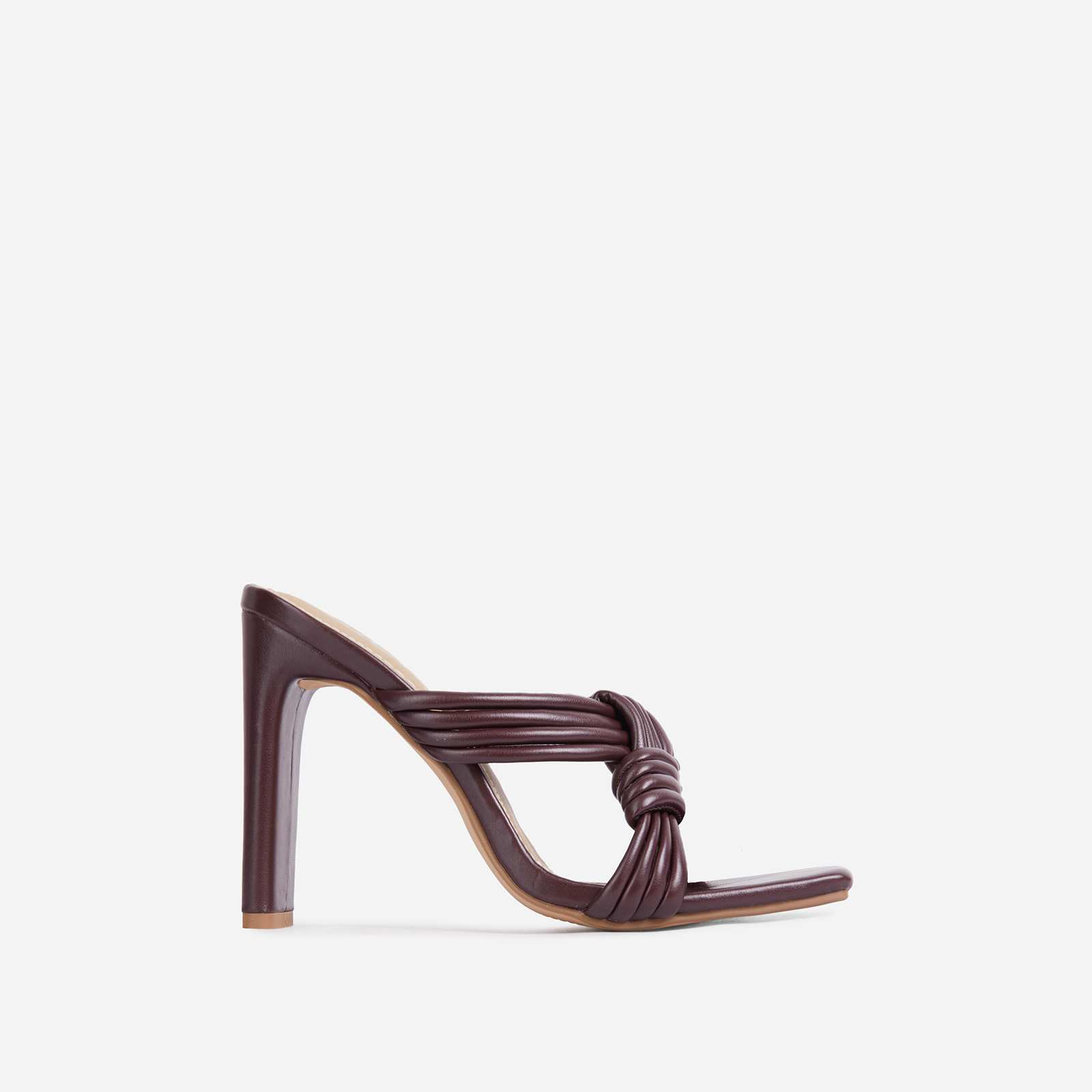 Opera Criss Cross Knotted Strap Square Open Toe Heel Mule In Dark Brown Faux Leather