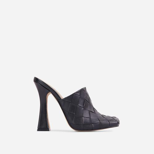 Beyond Woven Detail Closed Toe Flared Heel Mule In Black Faux Leather