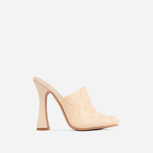 Beyond Woven Detail Closed Toe Flared Heel Mule In Cream Faux Leather