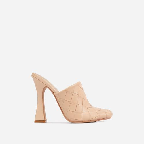 Beyond Woven Detail Closed Toe Flared Heel Mule In Nude Faux Leather