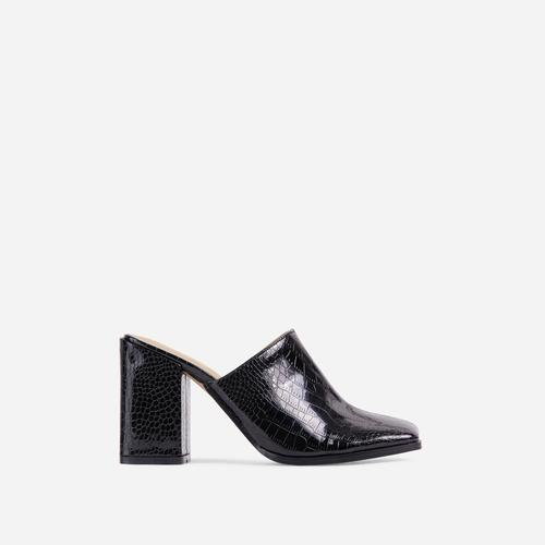 Adaline Closed Square Toe Block Heel Mule In Black Croc Print Patent