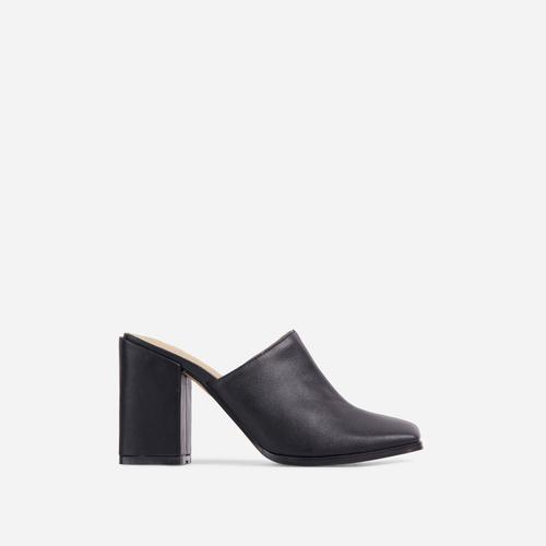 Adaline Closed Square Toe Block Heel Mule In Black Faux Leather