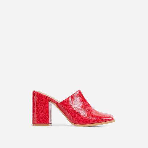 Adaline Closed Square Toe Block Heel Mule In Red Croc Print Patent