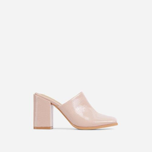 Adaline Closed Square Toe Block Heel Mule In Nude Croc Print Patent