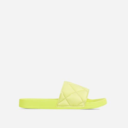 Elsy Quilted Detail Flat Slider Sandal In Lime Green