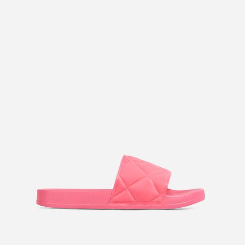 Elsy Quilted Detail Flat Slider Sandal In Pink
