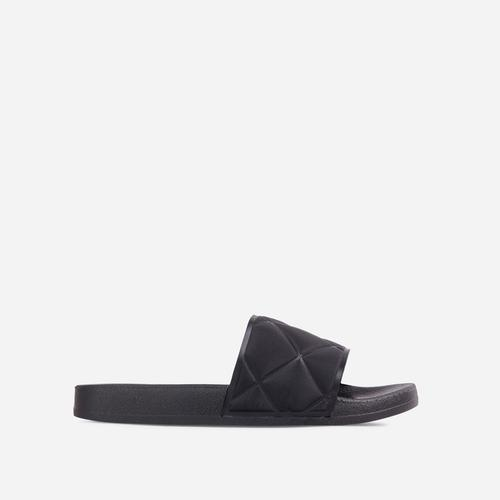 Elsy Quilted Detail Flat Slider Sandal In Black