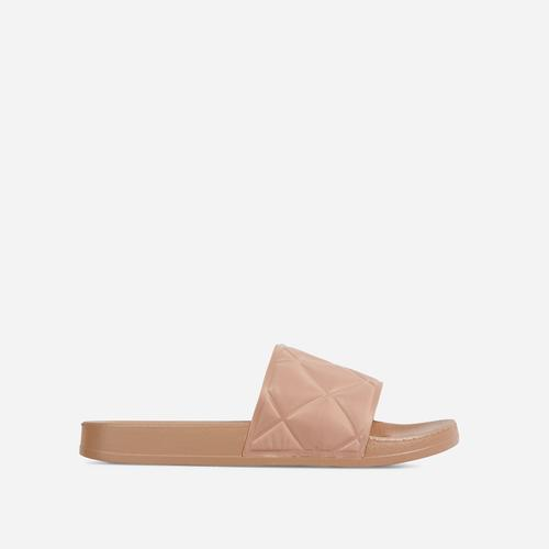 Elsy Quilted Detail Flat Slider Sandal In Light Tan Brown