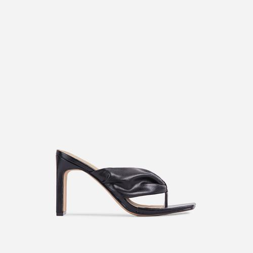 Midway Ruched Thong Square Toe Thin Block Heel Mule In Black Faux Leather
