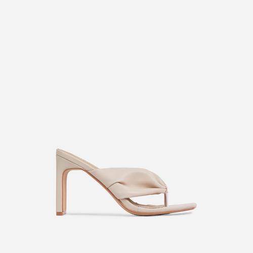 Midway Ruched Thong Square Toe Thin Block Heel Mule In Nude Faux Leather