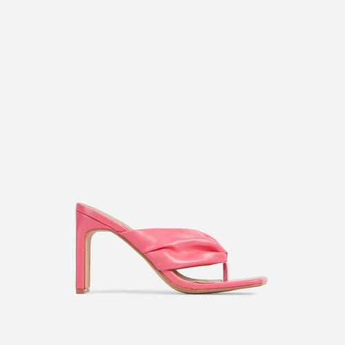 Midway Ruched Thong Square Toe Thin Block Heel Mule In Pink Faux Leather