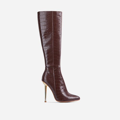 Clarity Metallic Heel Knee High Long Boots In Dark Brown Croc Print Faux Leather