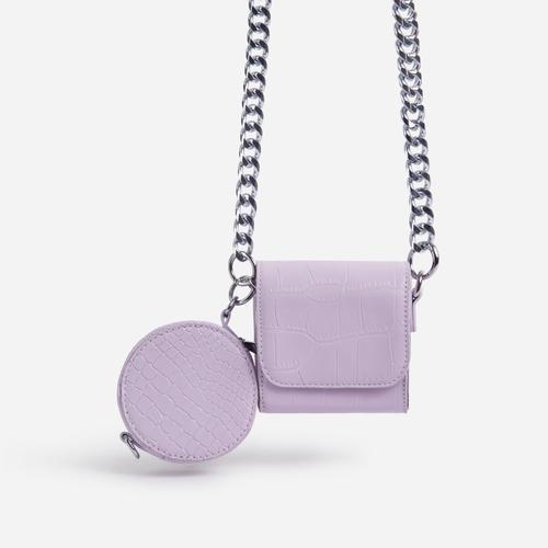 Dee-Dee Purse Detail Mini Cross Body Bag In Pink Croc Print Faux Leather