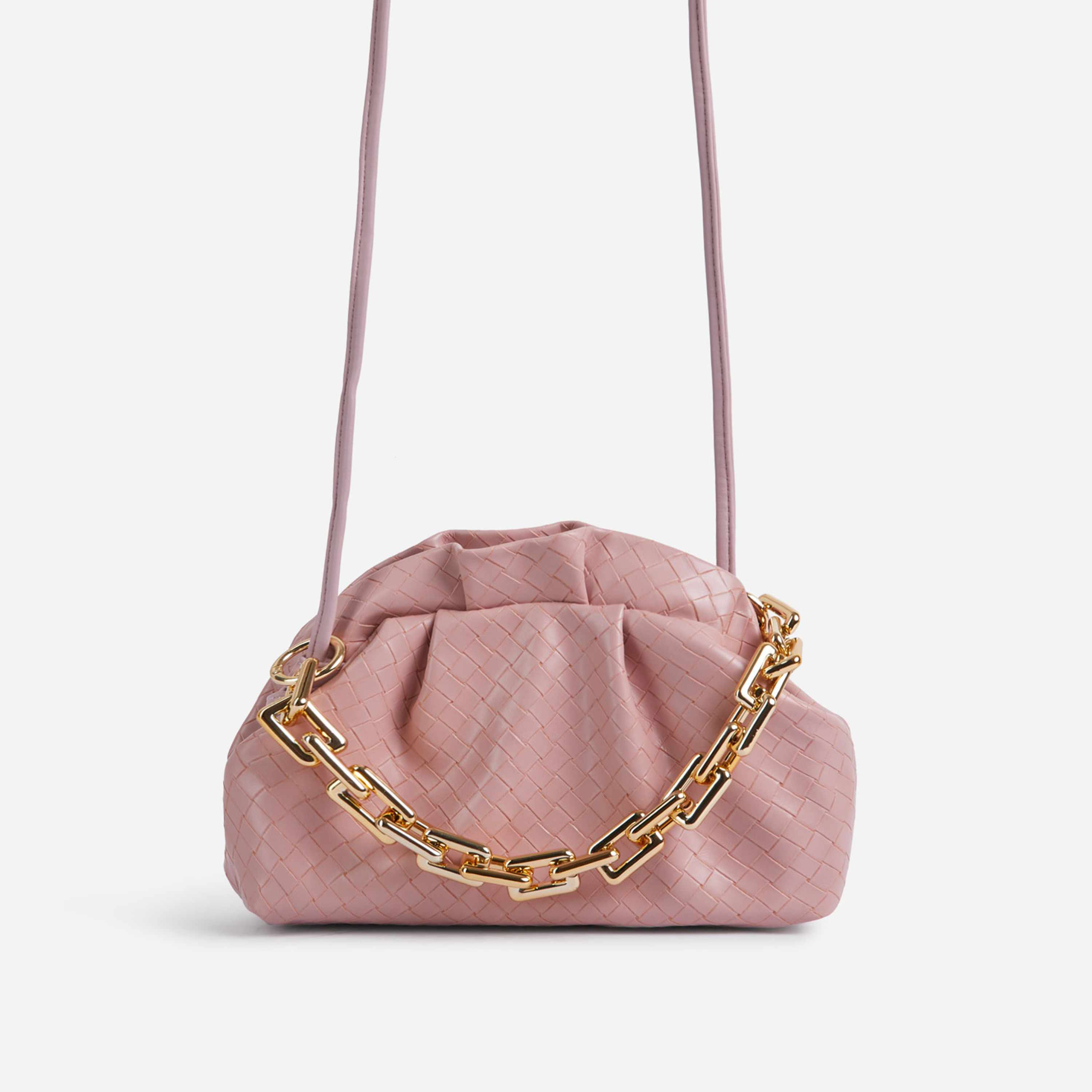 Pure Chain Detail Cross Body Pouch Bag In Pink Croc Print Faux Leather