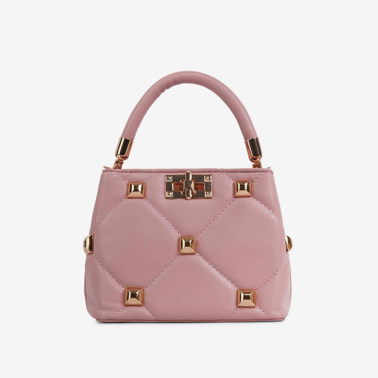 Pippa Studded Detail Mini Cross Body Bag In Pink Faux Leather