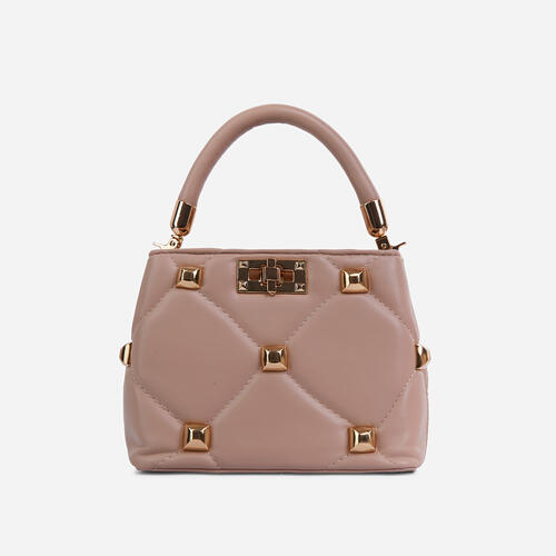 Pippa Studded Detail Mini Cross Body Bag In Nude Faux Leather