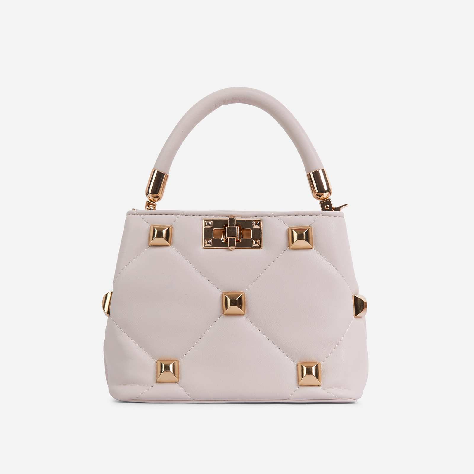 Pippa Studded Detail Mini Cross Body Bag In White Faux Leather