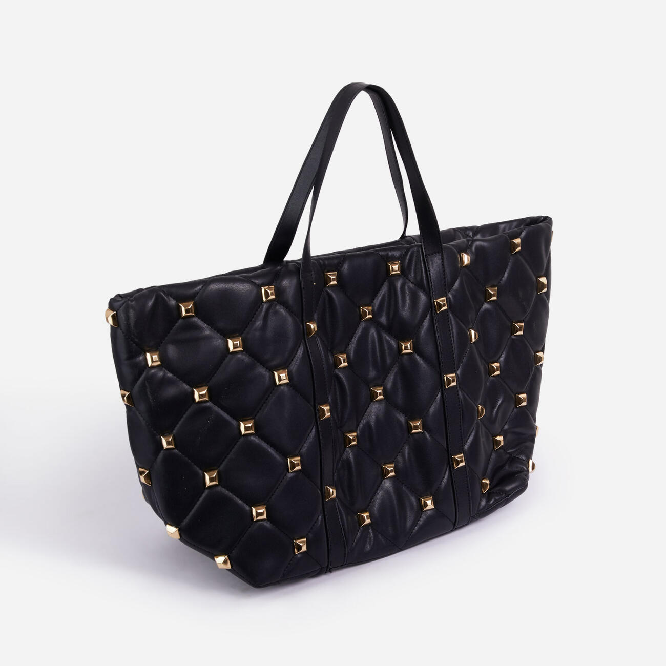 Kym Studded Detail Oversized Tote Bag In Black Faux Leather Image 2