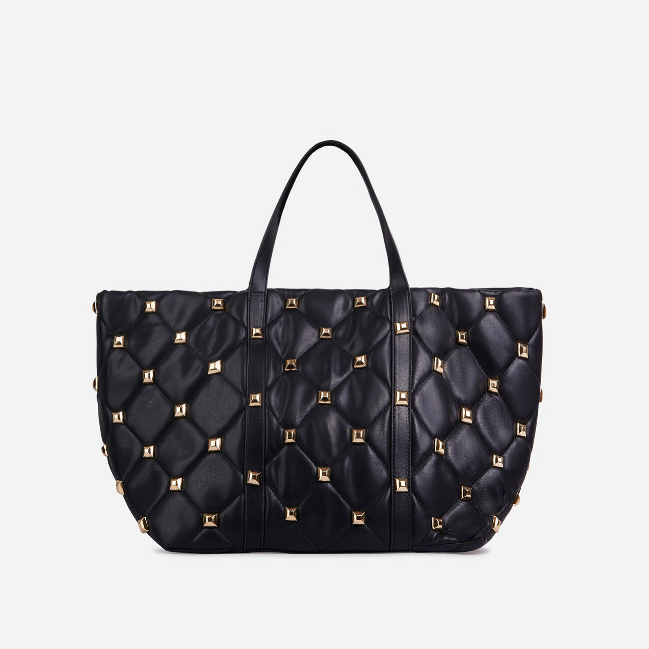 Kym Studded Detail Oversized Tote Bag In Black Faux Leather Image 1