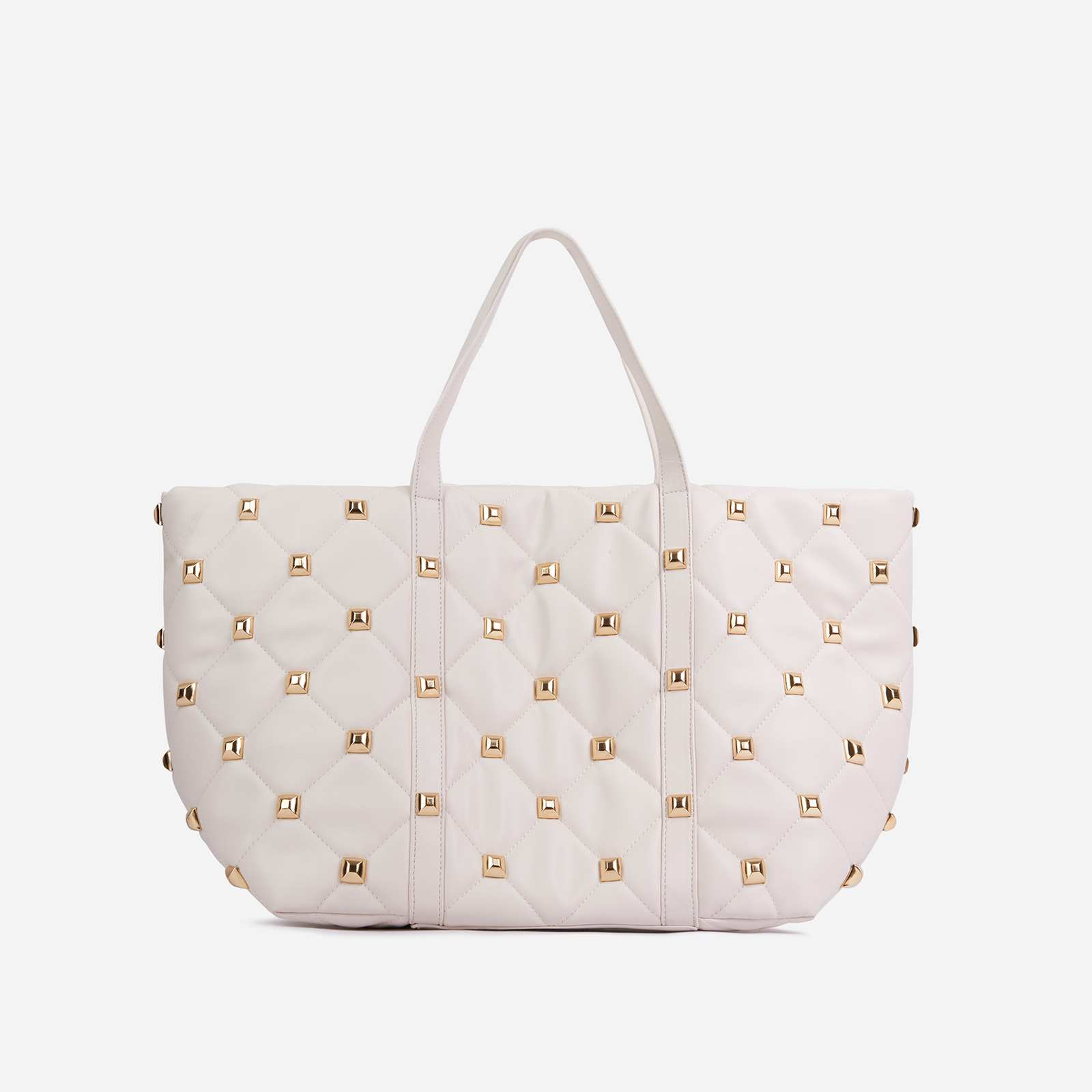 Kym Studded Detail Oversized Tote Bag In White Faux Leather