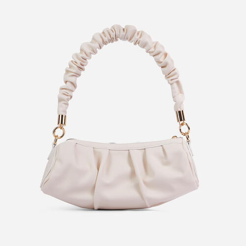 Berry Ruched Handle Shoulder Baguette Bag In White Faux Leather