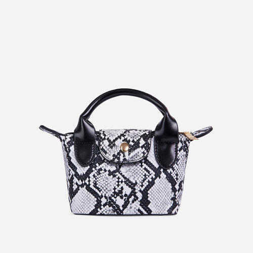 Swift Chain Strap Popper Detail Mini Bag In Grey Snake Faux Leather