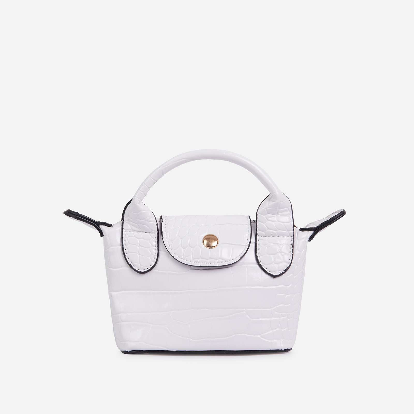 Swift Chain Strap Popper Detail Mini Bag In White Croc Print Patent