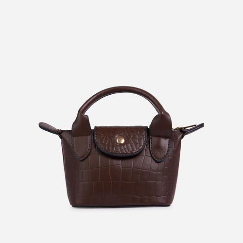 Swift Chain Strap Popper Detail Mini Bag In Brown Croc Print Patent