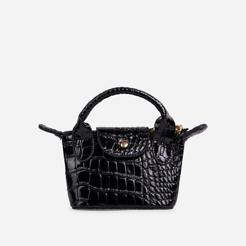 Swift Chain Strap Popper Detail Mini Bag In Black Croc Print Patent