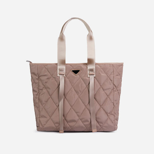 Dougie Quilted Shopper Bag In Nude Nylon