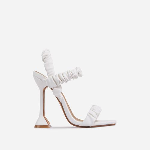 Bute Ruched Detail Double Strap Square Toe Sculptured Heel Mule In White Faux Leather