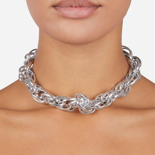 Twisted Chain Detail Necklace In Silver