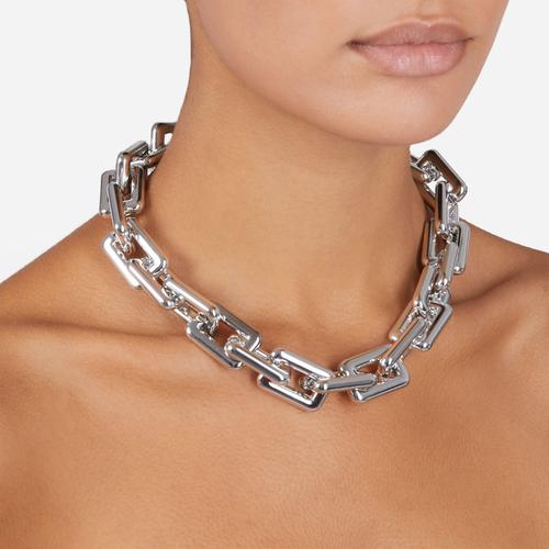 Oversized Square Chain Necklace In Silver