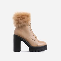 Toasty Lace Up Fluffy Block Heel Ankle Biker Boot In Nude Faux Leather