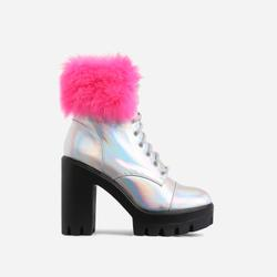 Toasty Lace Up Fluffy Block Heel Ankle Biker Boot In Silver Holographic Faux Leather