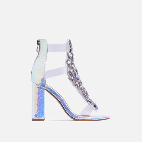 Tatum Jewel Embellished Block Heel In Silver Holographic Snake Print Faux Leather