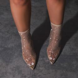 Vakili Diamante Detail Heel Ankle Sock Boot In Nude Fishnet