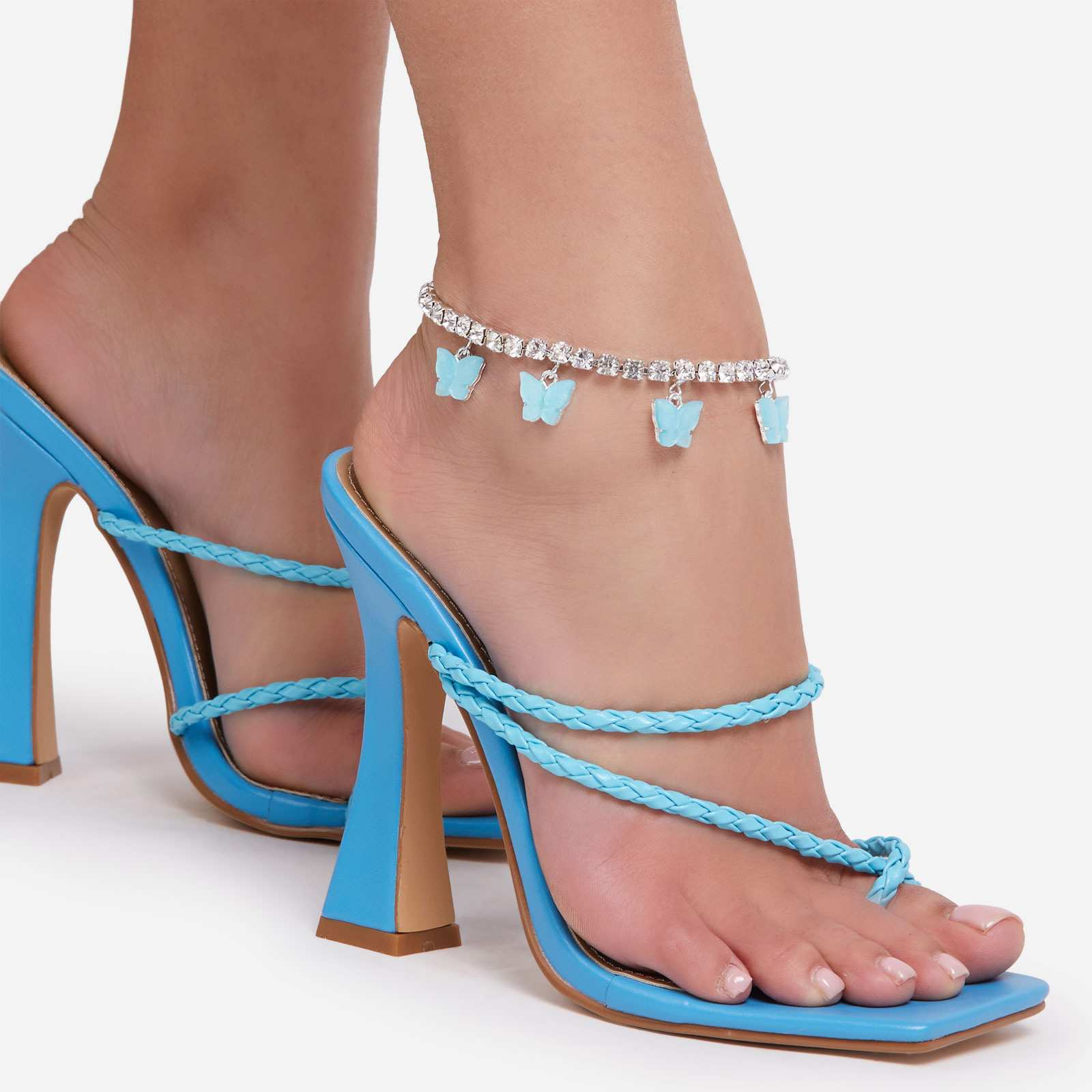 Multi Blue Butterfly Detail Diamante Anklet In Silver