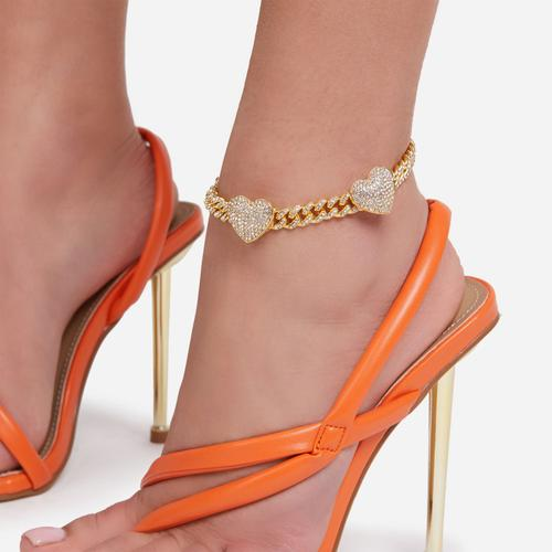 Diamante Heart Detail Anklet In Gold