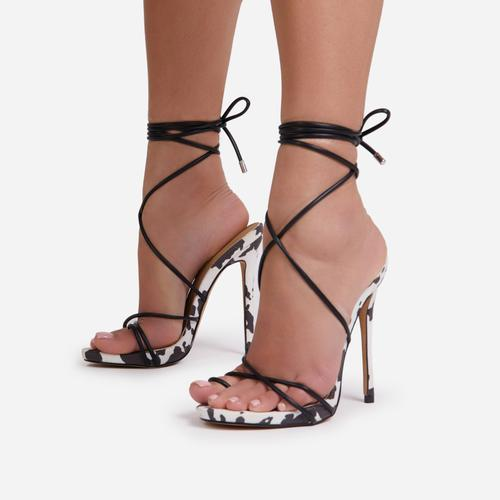Gelato Lace Up Platform Heel In Black Cow Print Faux Suede